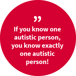 "A red circle inscribed with ""If you know one autistic person, you know exactly one autistic person!"""